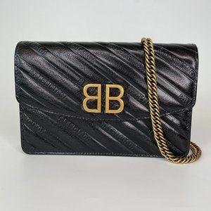 BALENCIAGA SHINY GOATSKIN LOGO BLACK WALLET BAG